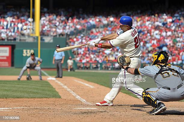 Raul Ibanez of the Philadelphia Phillies hits a two run home run in the eighth inning to tie the game against the Pittsburgh Pirates at Citizens Bank...