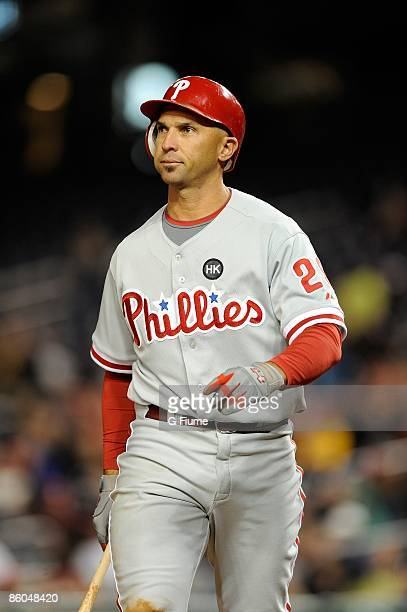 Raul Ibanez of the Philadelphia Phillies walks to the dugout after striking out against the Washington Nationals at Nationals Park on April 16 2009...