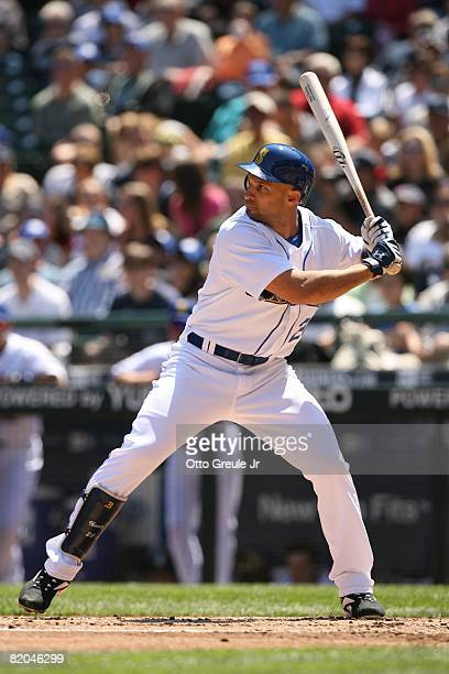 Raul Ibanez of the Seattle Mariners bats against the Cleveland Indians on July 19, 2008 at Safeco Field in Seattle, Washington.