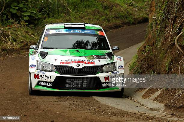 Raul Jeets and Andrus Toom in Skoda Fabia R5 of Sports Racing Technologies during the shakedow of the FIA ERC Azores Airlines Rallye 2016 in Ponta...