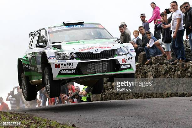 Raul Jeets and Andrus Toom in Skoda Fabia R5 of Sports Racing Technologies during the SS1 Batalha of the FIA ERC Azores Airlines Rallye 2016 in Ponta...