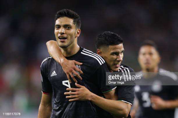 Raul Jimenez and Uriel Antuna of Mexico celebrate their team's 1st goal during a quarterfinal match between Mexico and Costa Rica as part of 2019...
