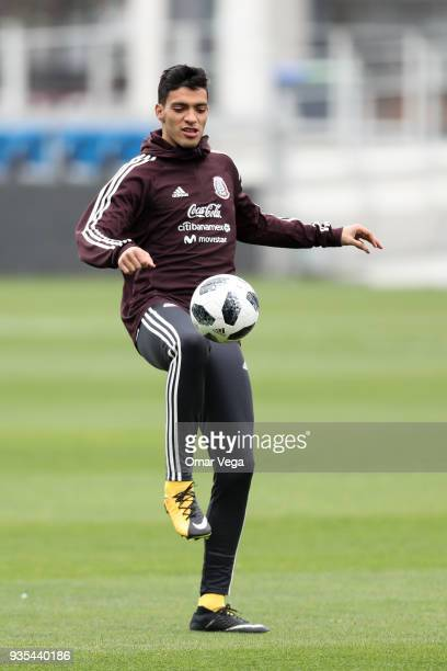 Raul Jimenez controls the ball during the Mexico National Team training session at Avaya Stadium on March 20 2018 in San Jose California