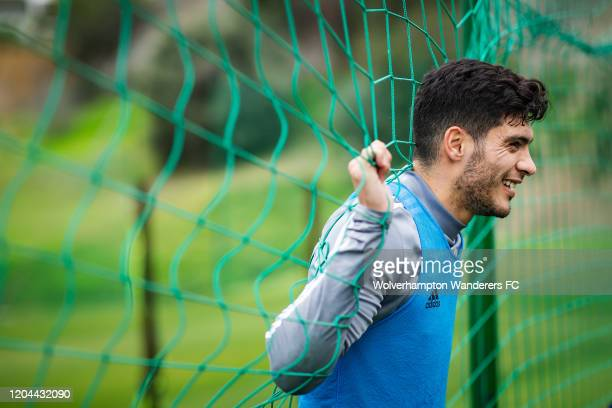Raul Jimenez looks on during Wolverhampton Wanderers Training Session at La Quinta Football Fields on February 06, 2020 in Marbella, Spain.