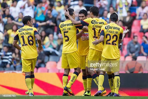 Raul Jimenez of America celebrates after scoring during a Clausura 2013 Liga MX match against Queretaro at Azteca Stadium on February 02 2013 in...