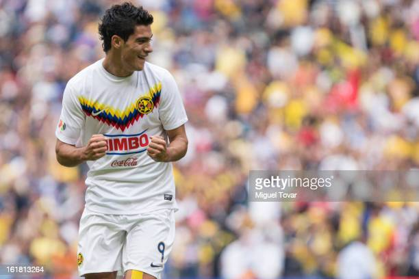 Raul Jimenez of America celebrates after scoring during a Clausura 2013 Liga MX match between America and Toluca at Azteca Stadium on February 16...