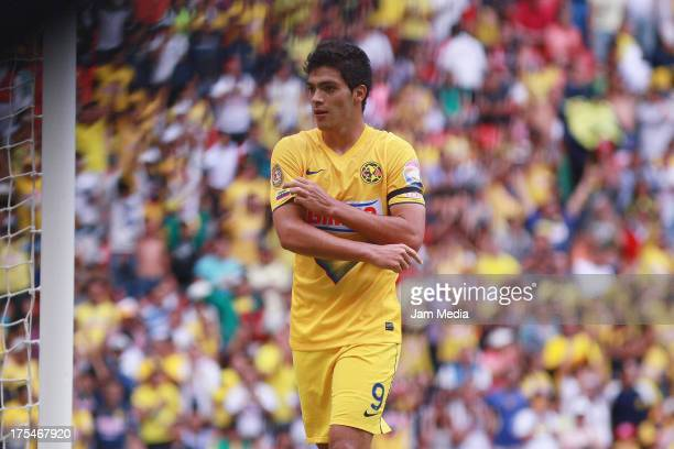Raul Jimenez of America celebrates score a goal against of Atlas during a match between America and Atlas as part of the Apertura 2013 Liga Bancomer...