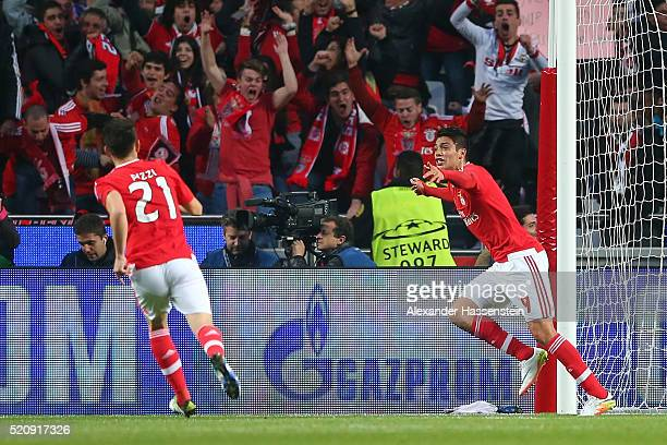 Raul Jimenez of Benfica celebrates scoring the opening goal during the UEFA Champions League quarter final second leg match between SL Benfica and FC...