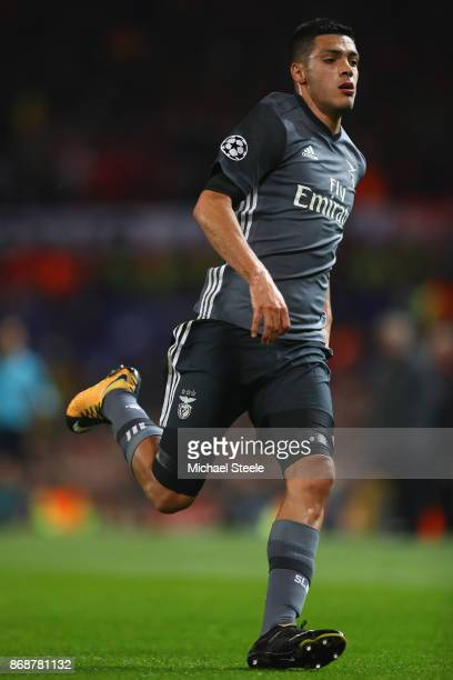 Raul Jimenez of Benfica during the UEFA Champions League group A match between Manchester United and SL Benfica at Old Trafford on October 31 2017 in...