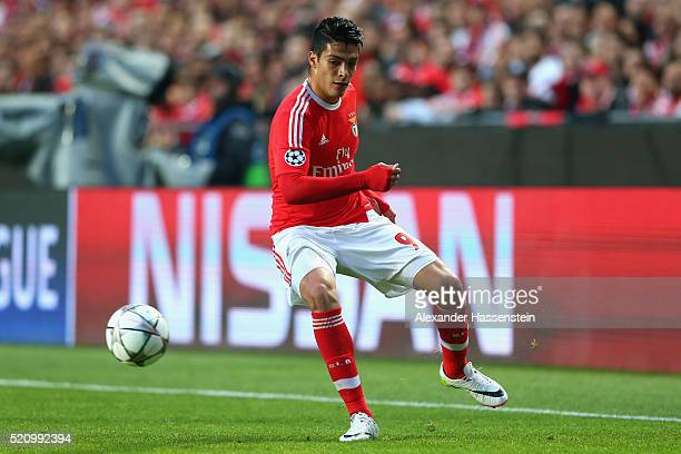Raul Jimenez of Benfica runs with the ball during the UEFA Champions League quarter final second leg match between SL Benfica and FC Bayern Muenchen...