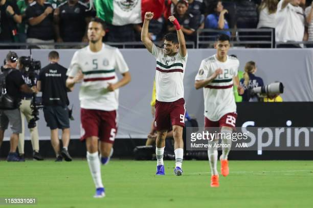 Raul Jimenez of Mexico celebrates after scoring a goal to make it 0-1 during the 2019 CONCACAF Gold Cup Semi Final between Haiti and Mexico at State...