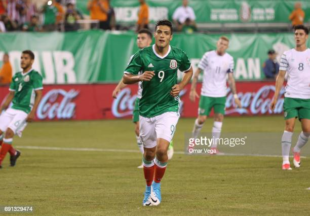 Raul Jimenez of Mexico celebrates after scoring during the friendly match between the Republic of Ireland and Mexico at MetLife Stadium on June 01...