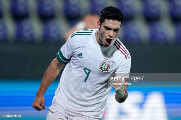 Raul Jimenez of Mexico celebrates after scoring his team's first goal during the international friendly match between Mexico and South Korea at...
