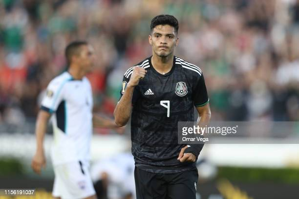 Raul Jimenez of Mexico celebrates after scoring his team's second goal during a CONCACAF Gold Cup Group A match between Mexico and Cuba at Rose Bowl...