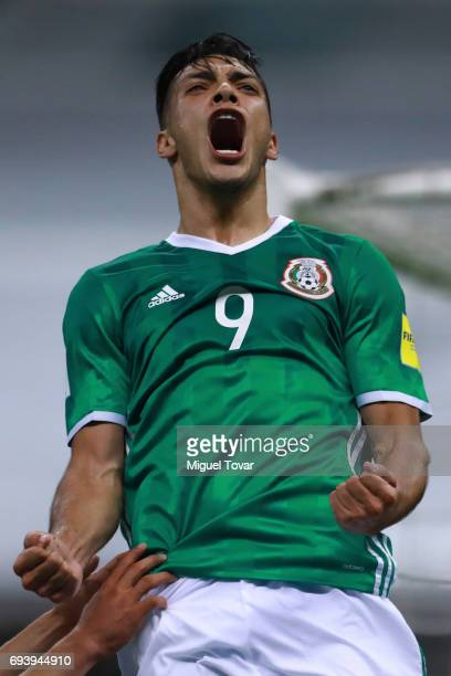 Raul JimŽenez of Mexico celebrates after scoring his team's third goal during the match between Mexico and Honduras as part of the FIFA 2018 World...
