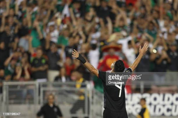 Raul Jimenez of Mexico celebrates after scoring the fifth goal of his team during a CONCACAF Gold Cup Group A match between Mexico and Cuba at Rose...