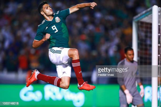Raul Jimenez of Mexico celebrates after scoring the third goal of his team during the international friendly match between Mexico and Costa Rica at...