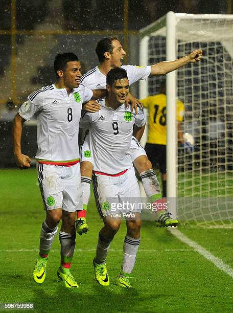 Raul Jimenez of Mexico celebrates after scoring the third goal of his team during a match between El Salvador and Mexico as part of FIFA 2018 World...