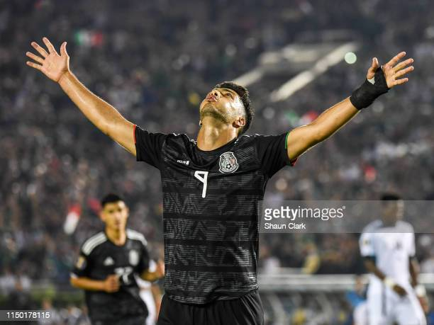 Raul Jimenez of Mexico celebrates his goal during the 2019 CONCACAF Gold Cup Group A match between Mexico and Cuba at the Rose Bowl on June 15, 2019...