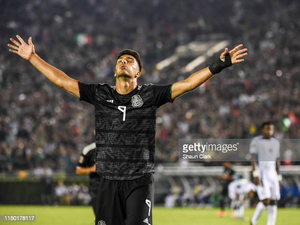 Raul Jimenez of Mexico celebrates his goal during the 2019 CONCACAF Gold Cup Group A match between Mexico and Cuba at the Rose Bowl on June 15 2019...