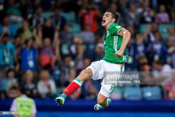 Raul Jimenez of Mexico celebrates his goal during the FIFA Confederations Cup Russia 2017 group A football match between Mexico and New Zealand at...