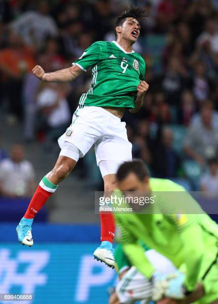 Raul Jimenez of Mexico celebrates scoring his sides first goal during the FIFA Confederations Cup Russia 2017 Group A match between Mexico and New...