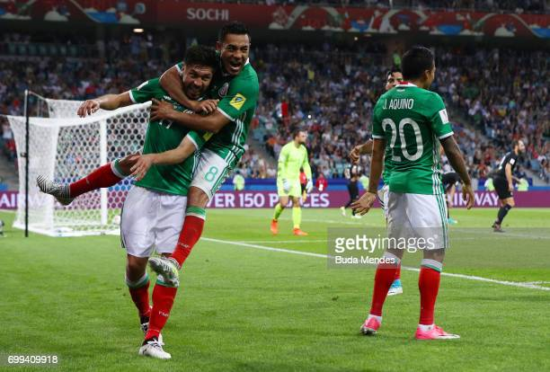 Raul Jimenez of Mexico celebrates scoring his sides second goal with his Mexico team mates during the FIFA Confederations Cup Russia 2017 Group A...
