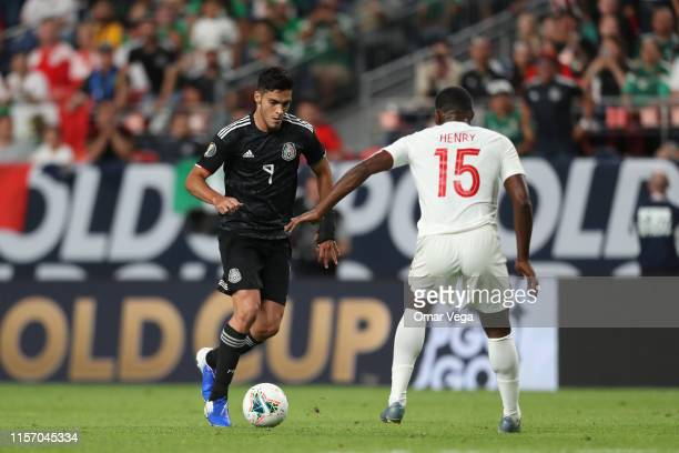 Raul Jimenez of Mexico controls the ball during the Group A match between Mexico and Canada as part of the 2019 CONCACAF Gold Cup at Sports Authority...