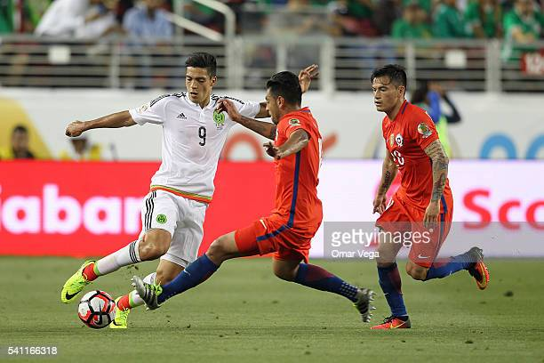 Raul Jimenez of Mexico dribbles the ball during a Quarterfinal match between Mexico and Chile at Levi's Stadium as part of Copa America Centenario US...