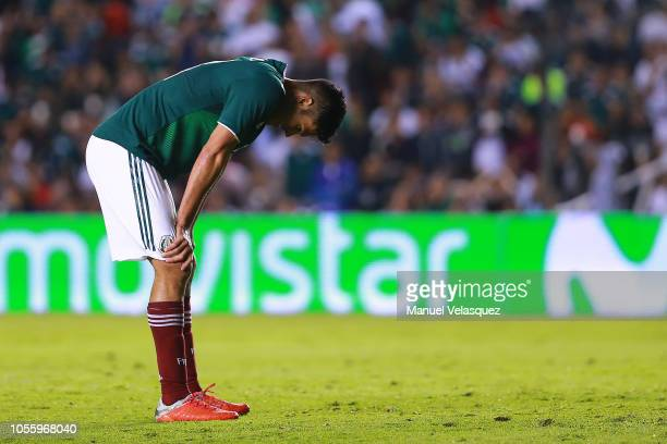 Raul Jimenez of Mexico gestures during the international friendly match between Mexico and Chile at La Corregidora Stadium on October 16 2018 in...