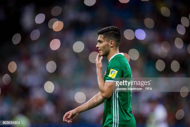 Raul Jimenez of Mexico looks dejected during FIFA Confederations Cup Russia semifinal match between Germany and Mexico at Fisht Olympic Stadium on...