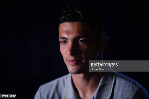 Raul Jimenez of Mexico speaks during a training session Press conference at Training Base NovogorskDynamo on June 19 2018 in Moscow Russia