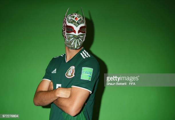 Raul Jimenez of Mexico poses for a portrait during the official FIFA World Cup 2018 portrait session at the team hotel on June 12 2018 in Moscow...