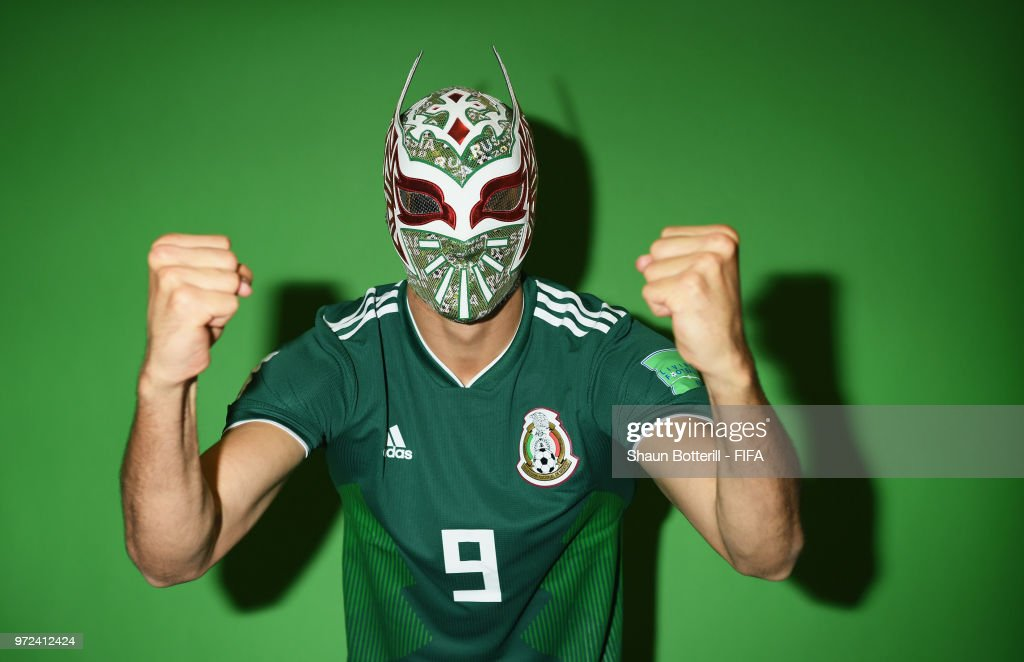 Raul Jimenez of Mexico poses for a portrait during the official FIFA World Cup 2018 portrait session at the team hotel on June 12, 2018 in Moscow, Russia.