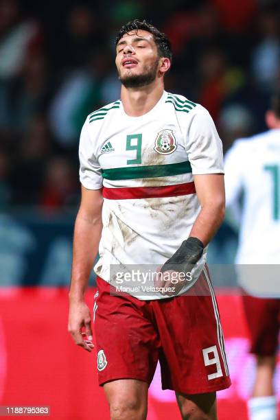 Raul Jimenez of Mexico reacts after missing a chance of goal during the match between Mexico and Bermuda as part of the Concacaf Nation League at...