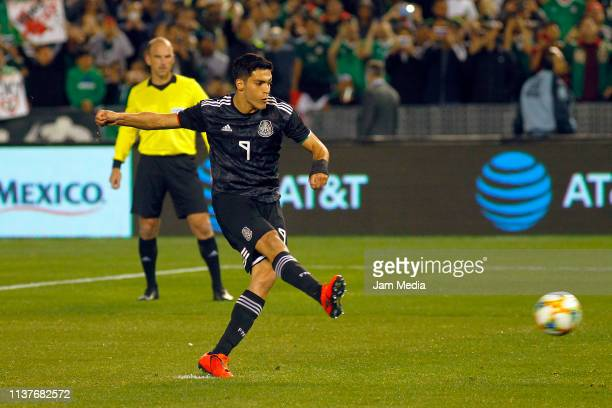 Raul Jimenez of Mexico scores the first goal of his team during an international friendly match between Chile and Mexico at Qualcomm Stadium on March...