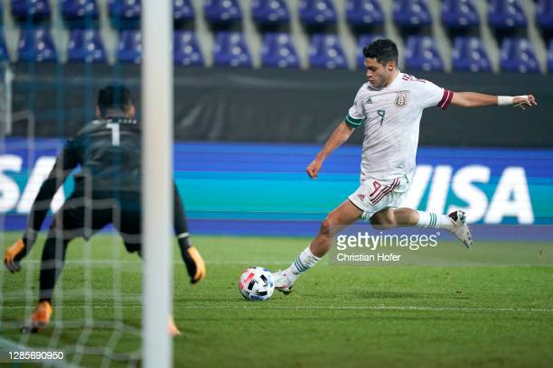 Raul Jimenez of Mexico shoots and misses during the international friendly match between Mexico and South Korea at Wiener Neustaedter Stadion on...