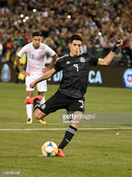 Raul Jimenez of Mexico shoots on goal during the International Friendly match between Mexico and Chile at Qualcomm Stadium on March 22 2019 in San...