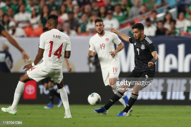 Raul Jimenez of Mexico shoots the ball during the Group A match between Mexico and Canada as part of the 2019 CONCACAF Gold Cup at Sports Authority...