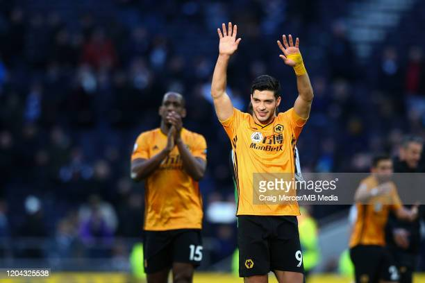 Raul Jimenez of Wolverhampton Wanderers acknowledges the fans after the Premier League match between Tottenham Hotspur and Wolverhampton Wanderers at...