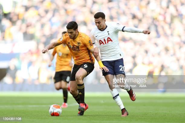 Raul Jimenez of Wolverhampton Wanderers and Dele Alli of Tottenham Hotspur during the Premier League match between Tottenham Hotspur and...