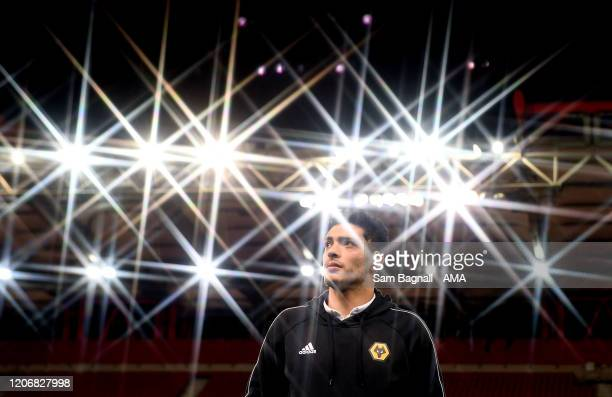 Raul Jimenez of Wolverhampton Wanderers arrives for the game prior to the UEFA Europa League round of 16 first leg match between Olympiacos FC and...