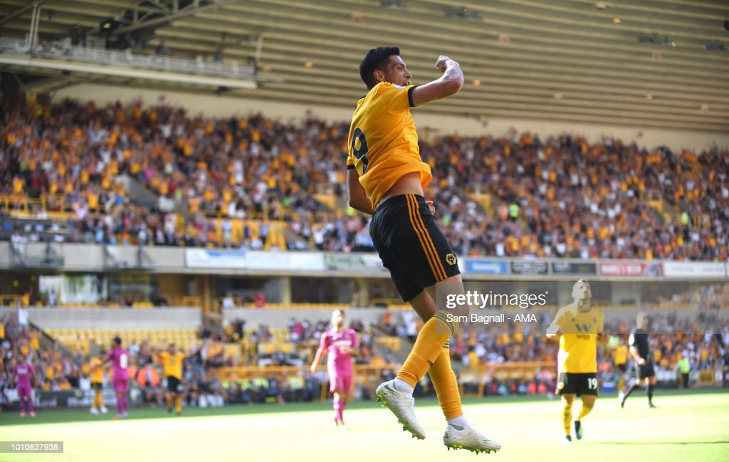Raul Jimenez of Wolverhampton Wanderers celebrates after scoring a goal to make it 2-1 during a pre-season friendly between Wolverhampton Wanderers and Villarreal at Molineux on August 4, 2018 in Wolverhampton, England.