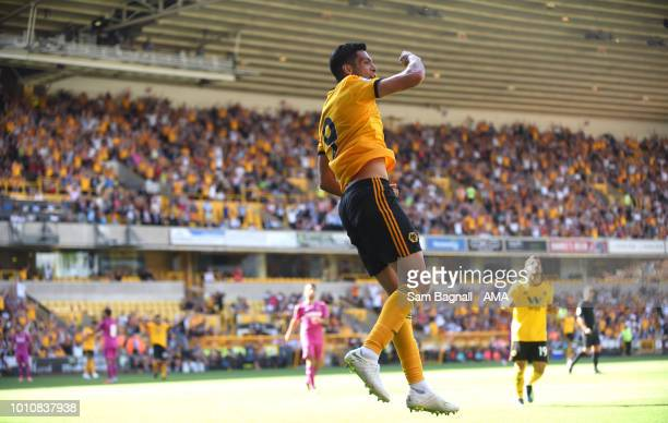 Raul Jimenez of Wolverhampton Wanderers celebrates after scoring a goal to make it 2-1 during a pre-season friendly between Wolverhampton Wanderers...