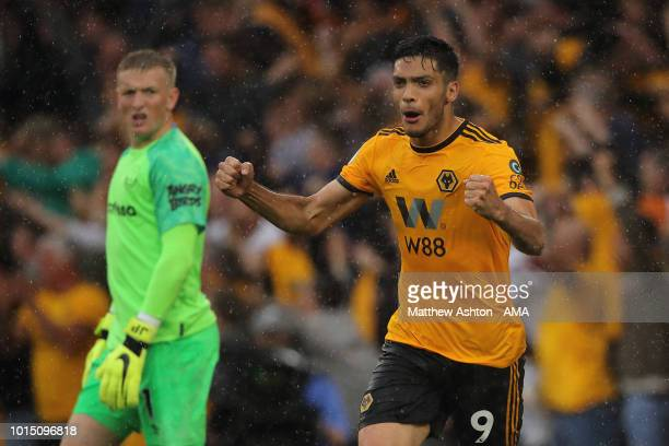 Raul Jimenez of Wolverhampton Wanderers celebrates after scoring a goal to make it 22 during the Premier League match between Wolverhampton Wanderers...