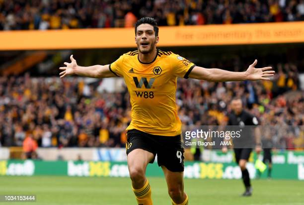 Raul Jimenez of Wolverhampton Wanderers celebrates after scoring a goal to make it 10 during the Premier League match between Wolverhampton Wanderers...