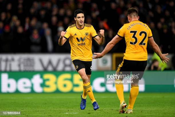 Raul Jimenez of Wolverhampton Wanderers celebrates after scoring a goal to make it 10 during the Emirates FA Cup Third Round match between...