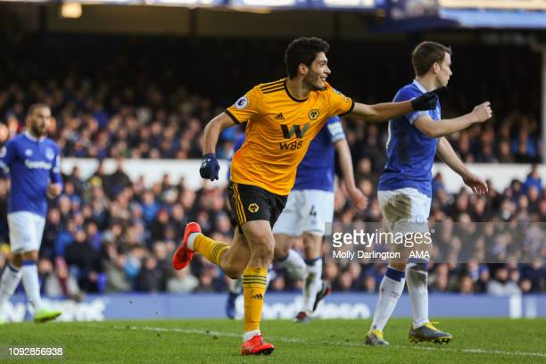 Raul Jimenez of Wolverhampton Wanderers celebrates after scoring a goal to make it 12 during the Premier League match between Everton FC and...