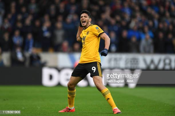 Raul Jimenez of Wolverhampton Wanderers celebrates after scoring a goal to make it 20 during the Premier League match between Wolverhampton Wanderers...