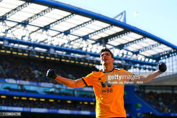 Raul Jimenez of Wolverhampton Wanderers celebrates after scoring a goal to make it 01 during the Premier League match between Chelsea FC and...